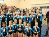 Pinewood Gymnastics Club - TeamGym Squad Gymnasts with medals